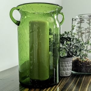 Large Green Bubble Glass Vase 10in